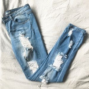 Machine Brand Distressed Jeans